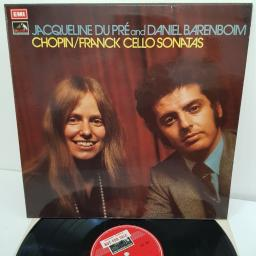 "JACQUELINE DU PRE AND DANIEL BARENBOIM, chopin/franck: cello sonatas, ASD 2581, 12"" LP, factory sample"