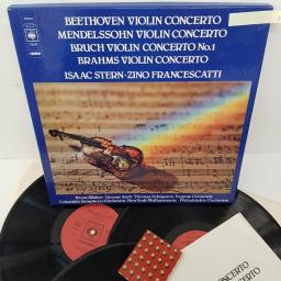ISAAC STERN, ZINO FRANCESCATTI, BRUNO WALTER, GEORGE SZELL, THOMAS SCHIPPERS, EUGEN ORMANDY, COLUMBIA SYMPHONY ORCHESTRA, NEW YORK PHILHARMONIC, PHILADELPHIA ORCHESTRA, beethoven violin concerto, mendelssohn violin concerto, bruch violen concert no. 1, br