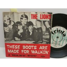 THE LIONS these boots are nmade for walkin' & I want you 7 inch PICTURE SLEEVE TD 299