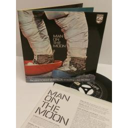 MAN ON THE MOON the story in sound of the Apollo 11 moon landing- July 20, 1969. 7 inch picture sleeve. 88457 DE