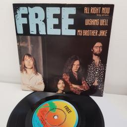 "FREE, all right now, B side my brother jake and wishing well, IEP 6, 7"" single"