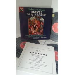 BACH, ELISABETH SCHWARZKOPF, MARGA HOFFGER, NICOLAI GEDDA, HEINZ REHFUSS, CHORUS OF THE SOCIETY OF THE FRIENDS OF MUSIC, VIENNA, HERBERT VON KARAJAN mass in b minor, 3 x lp boxset, booklet, RLS 746