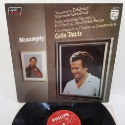 "Moussorgsky, Concertgebouw Orchestra, Colin Davis ‎– Pictures At An Exhibition - Bilder Einer Ausstellung / A Night On The Bare Mountain - Eine Nacht Auf Dem Kahlen Berge, 9500 744, 12"" LP"
