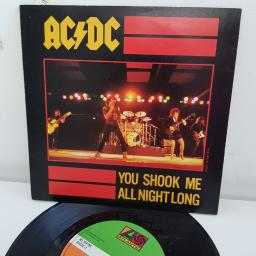 "AC/DC, you shook me all night long, B side have a drink on me, K 11600, 7"" single"