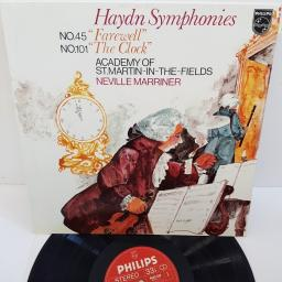 "Haydn - Academy Of St. Martin-in-the-Fields, Neville Marriner ‎– Symphonies (No. 45 ""Farewell"" / No. 101 ""The Clock""), 9500 520, 12"" LP"