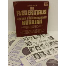 J. STRAUSS / KARAJAN / WIENER PHILHARMONIKER die fledermaus, 3 x lp, libretto, D247D3
