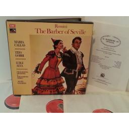 ROSSINI, MARIA CALLAS, TITO GOBBI, LUIGI ALVA, PHILHARMONIA ORCHESTRA AND PHILHARMONIA CHORUS, ALCEO GALLERIA the barber of seville, SLS 853, 3 record box set, libretto.