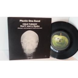 SOLD PLASTIC ONO BAND cold turkey & don't worry Kyoko. APPLES 1001.