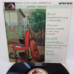 "Mozart, Telemann, Yehudi Menuhin, The Philharmonia Orchestra, Elaine Shaffer, Marilyn Costello ‎– Flute & Harp Concerto / Suite For Flute & Strings, ASD 575, 12"" LP"