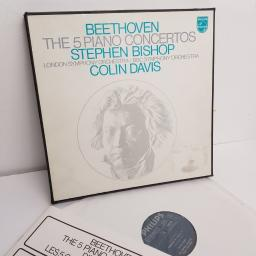 "Beethoven, Stephen Bishop, London Symphony Orchestra, BBC Symphony Orchestra, Colin Davis ‎– The 5 Piano Concertos, 6747 104, 2x12"" LP, box set"