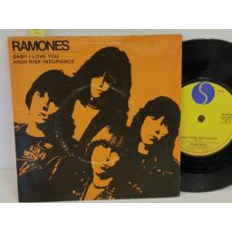 SOLD: RAMONES baby i love you / high risk insurance, PICTURE SLEEVE, 7 inch single, SIR 4031