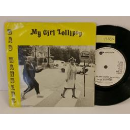 BAD MANNERS my girl lollipop, PICTURE SLEEVE, 7 inch single, MAG 232