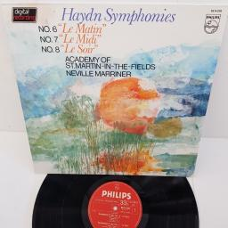 "Haydn, Neville Marriner, Academy Of St. Martin-In-The-Fields ‎– Haydn Symphonies No. 6 ""Le Matin"", No. 7 ""Le Midi"", No. 8 ""Le Soir"", 6514 076, 12"" LP"