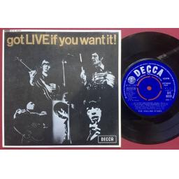 THE ROLLING STONES got live if you want it, PICTURE SLEEVE 7 inch single, DFE 8620