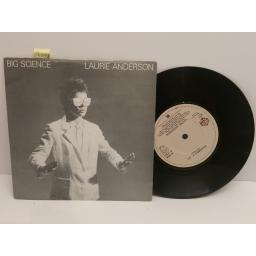 SOLD : LAURIE ANDERSON big science EDIT, example # 22. 7 inch picture sleeve. K 17941