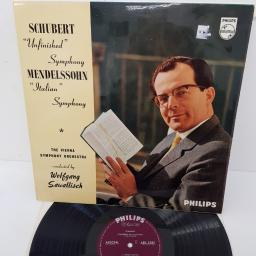 "Schubert / Mendelssohn - Vienna Symphony Orchestra, The Conducted By Wolfgang Sawallisch ‎– Unfinished Symphony / Italian Symphony, ABL 3285, 12"" LP"