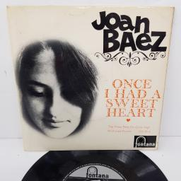 "JOAN BAEZ, once I had a sweetheart + the trees they do grow high, B side wildwood flower + old blue, TFE18006, 7"" EP"