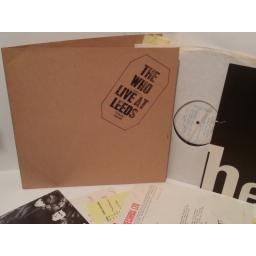 THE WHO live at leeds, black stamp on sleeve, 2406 001, gatefold, complete with inserts