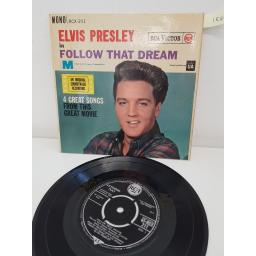 ELVIS PRESLEY, side A follow that dream, angel, side B what a wonderful life, i'm not the marrying kind, RCX-211, 7'' EP