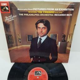 "Mussorgsky - Ravel / Stravinsky — The Philadelphia Orchestra · Riccardo Muti ‎– Pictures At An Exhibition / The Firebird (Suite, 1919), ASD 3645, 12"" LP"