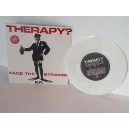 SOLD THERAPY face the strange, limited white vinyl, 7 inch single