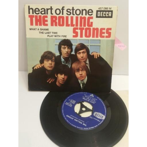 "THE ROLLING STONES heart of stone 4 TRACK PICTURE SLEEVE 7"" EP 457.066M"