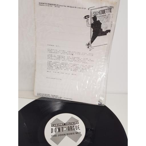 "CABARET VOLTAIRE, dont argue (JOHN ROBIE MIX), PROMO COPY, 12"" single"