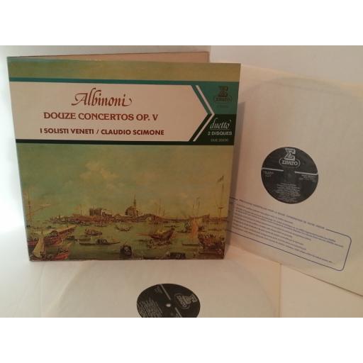 ALBINONI, I SOLISTI VENETI, CLAUDIO SCIMONE douze concertos op. v, DUE 20230, double album, gatefold
