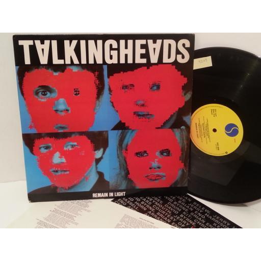 TALKING HEADS remain in light, lyric insert, SRK 6095