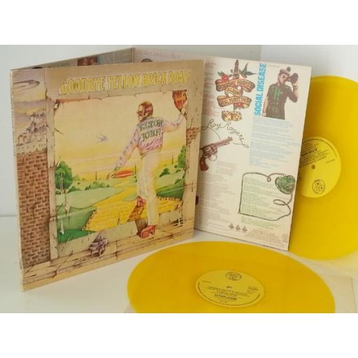 SOLD ELTON JOHN goodbye yellow brick road, trifold sleeve, yellow vinyl, DJE 29001
