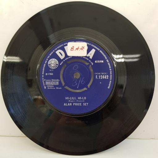 "ALAN PRICE SET, hi-lili, hi-lo, B side take me home, F.12442, 7"" single"