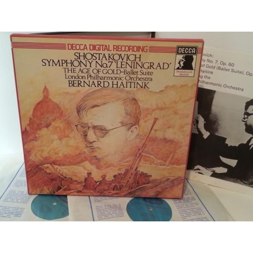 SHOSTAKOVICH, LONDON PHILHARMONIC ORCHESTRA, BERNARD HAITINK symphony no. 7 / the age of gold, booklet, 2 record box set, D213D 2