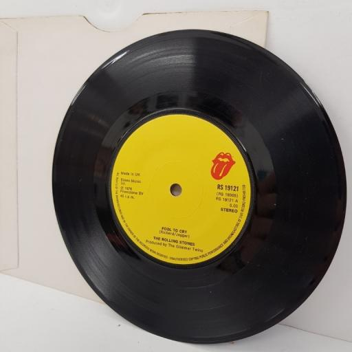 """THE ROLLING STONES, fool to cry, B side crazy mama, RS 19121, 7"""" single"""