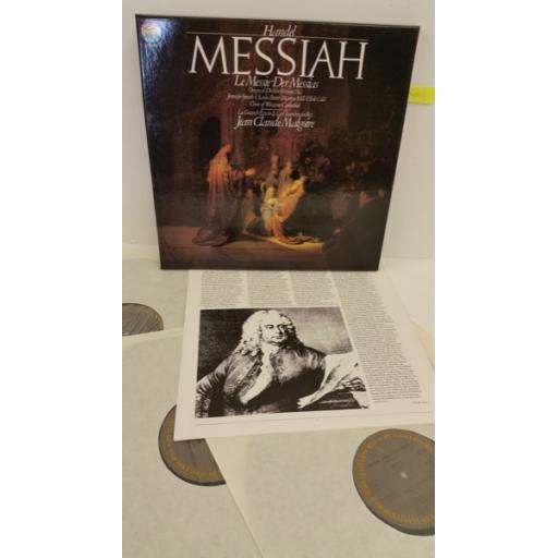 HANDEL, JENNIFER SMITH, CHARLES BRETT, MARTYN HILL, ULRIK COLD, CHOIR OF WORCESTER CATHEDRAL, JEAN CLAUDE MALGOIRE messiah, booklet, 3 x lp boxset, 79336