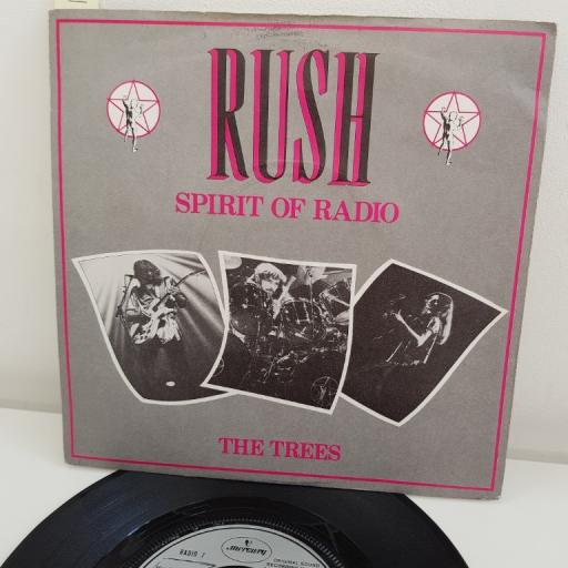 "RUSH, the spirit of radio, B side the trees, RADIO 7, 7"" single"
