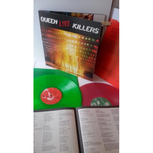 QUEEN live killers, gatefold, double album, green and red vinyl, lyric insert, P-5567E