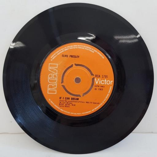 "ELVIS PRESLEY, if I can dream, B side memories, RCA 1795, 7"" single"