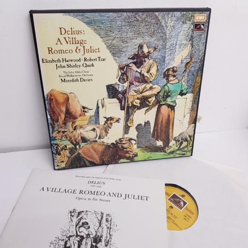 "Frederick Delius, Meredith Davies, The Royal Philharmonic Orchestra, Elizabeth Harwood, Robert Tear, John Shirley-Quirk, John Alldis Choir – A Village Romeo & Juliet, SLS 966, 3x12"" LP, box set"