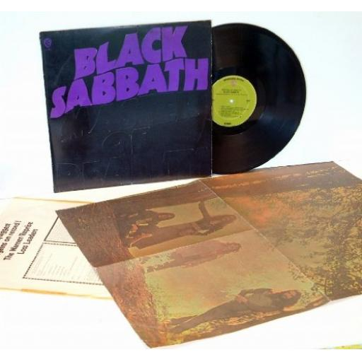BLACK SABBATH Master of Reality. EXTREMELY RARE First USA pressing complete with VERY RARE POSTER and extra track listing on label, STEP UP, DEATHMASK and THE HAUNTING, 1971 on the Solid Green Warner Bros label.