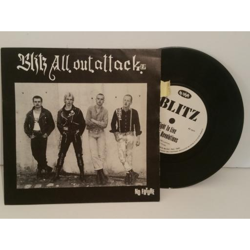 BLITZ all out attack, no future, fight to live, revolutions. 7 inch EP picture sleeve. Oi1