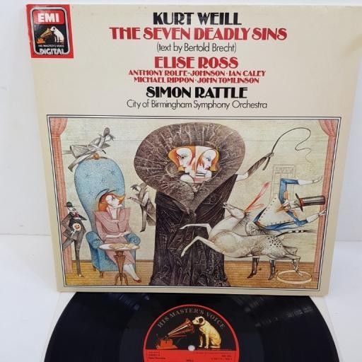 """Kurt Weill, Elise Ross, Simon Rattle – The Seven Deadly Sins, ASD 4402, 12"""" LP"""