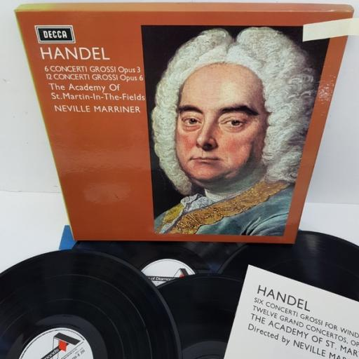 "Händel / Academy Of St. Martin-in-the-Fields directed by Neville Marriner ‎– Concerti Grossi Opus 3 And Opus 6, SDDB 294/7, 4x12"" LP, box set"