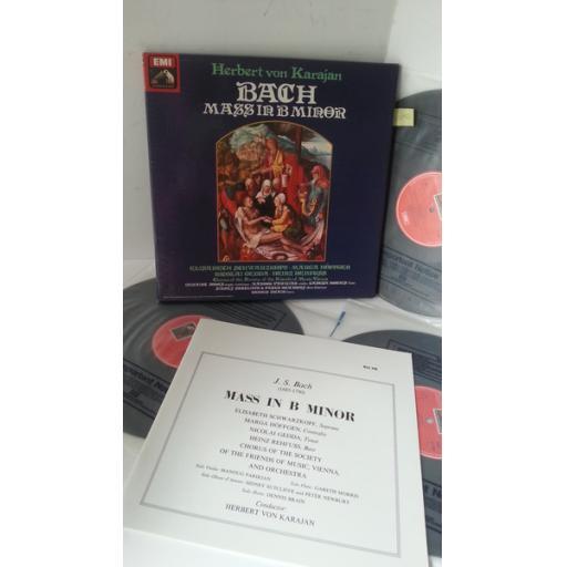 BACH, ELISABETH SCHWARZKOPF, MARGA HOFFGER, NICOLAI GEDDA, HEINZ REHFUSS, CHORUS OF THE SOCIETY OF THE FRIENDS OF MUSIC, VIENNA, HERBERT VON KARAJAN mass in b minor, 3 x lp boxset, booklet, RLS 746