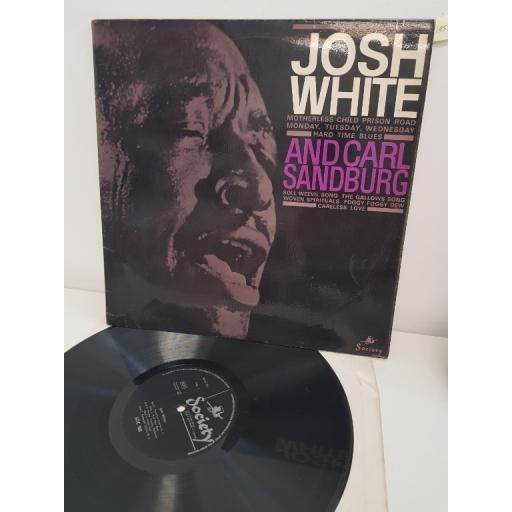 """JOSH WHITE AND CARL SANDBURG, josh white and carl sandburg, SOC 988, 12"""" LP"""