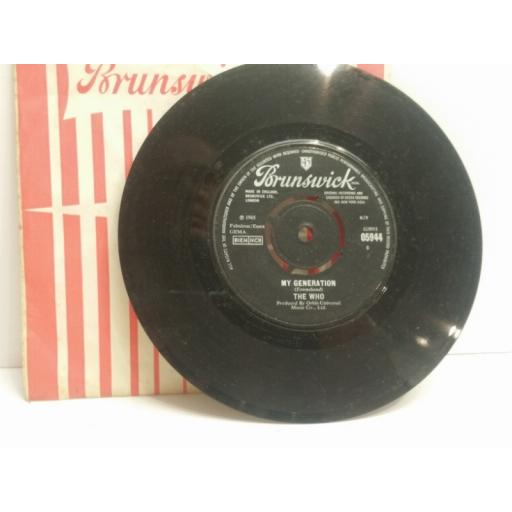"THE WHO my generation & shout and shimmy 7"" SINGLE BRUNSWICK 05944"