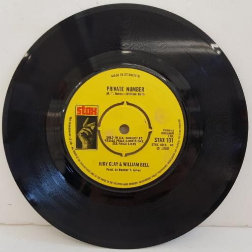 """JUDY CLAY & WILLIAM BELL, private number, B side love-eye-tis, STAX 101, 7"""" single"""