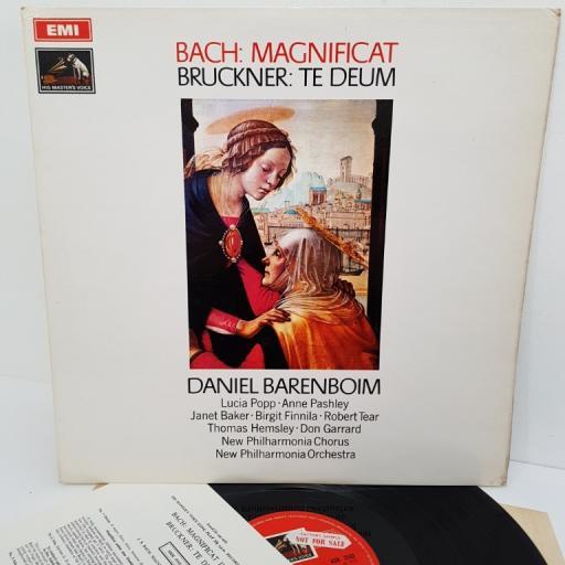 """Bach / Bruckner - Daniel Barenboim – Magnificat / Te Deum, ASD 2533, 12"""" LP, factory sample"""