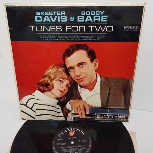 """SKEETER DAVIS & BOBBY BARE, tunes for two, RD-7711, 12"""" LP, mono"""