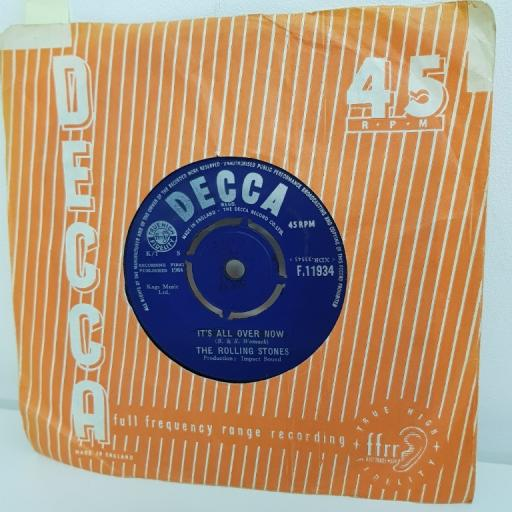"THE ROLLING STONES, it's all over now, B side good times, bad times, F. 11934, 7"" single"
