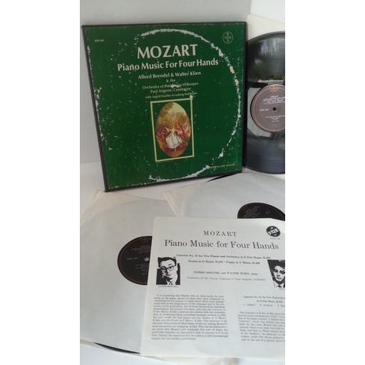 MOZART, ALFRED BRENDEL, WALTER KLIEN, ORCHESTRA OF THE VIENNA VOLKSOPER, PAUL ANGERER piano music for four hands, 3 x lp boxset, booklet, SVBX 566